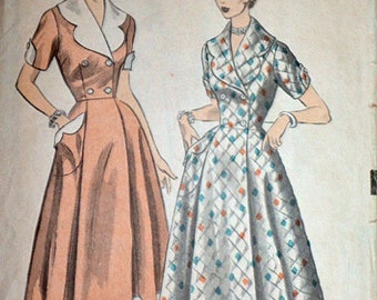 Vintage 50's Advance 6190 Double Breasted Dress/Housecoat Sewing Pattern, Size 14 1/2, Bust 34