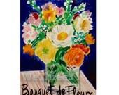 Bouquet de Fleur,Home Decor -  Print 5x7 of ink illustration, for her, for bedroom, living room, bouquet, vase