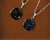 Custom Silver Zodiac Constellation Necklace on Tiny Vintage Locket - Black or Navy Blue Hand Painted - Personalized, Sterling Silver Chain