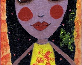 Summer Fun Girl Big Eyes Art - Reproduction of Original Art Work by Jessi Designs