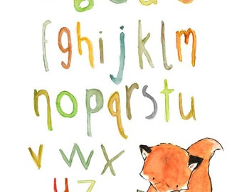 Nursery Art -- Foxy Alphabet -- Archival Print