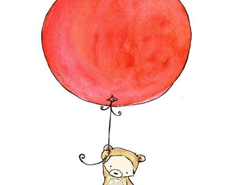 Nursery Art -- Bear Balloon -- Art Print