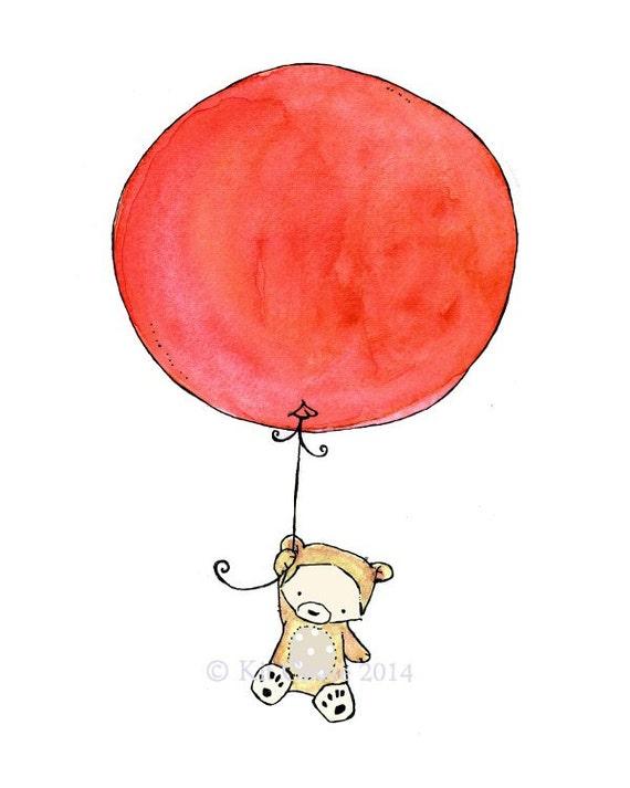 Nursery Art -- Bear Balloon -- Art Print