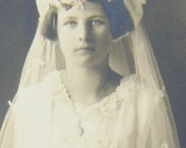 Young Girl Communion Photograph Early 1900s Wax Flowers Jewelry Gloves Green Bay