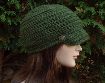 Forest Green Cadet Hat - Womens Military Cap with Metal Buttons - Crochet Hat with Visor