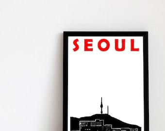 Seoul Print // Seoul Skyline // Korean Print // Seoul Poster // Seoul Art // Korean Print // South Korea Art // South Korean Art