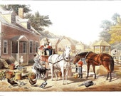 Currier Ives Print - Pioneer Print - Vintage Lithograph Postcard - Going To Market - Preparing For Market - Louis Maurer - Americana - 1860s
