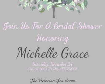 Personalized Floral Tree and Grey Gray Bridal Wedding Baby Shower Invitation DIY Digital You Print