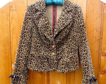 Leopard Animal Print Jacket Upcycled Corduroy Coat Vintage Embellished Retro Altered Couture