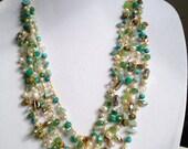 Beaded gemstone multi strand crochet Necklace Handmade Crochet beaded necklace beaded statement pearl necklace, OOAK
