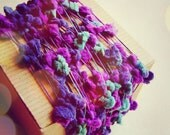 Violet, Midnight, Turquoise Painterly Pom Pom Garland- novelty party decoration, wedding craft supply, specialty trim -5 yds