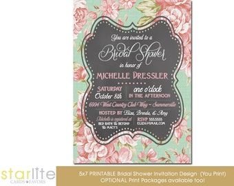 Chalkboard Floral Bridal Shower Invitation, Vintage Bridal Shower Invitation, Printable Bridal Shower Invitation, Printed Invitations