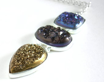 Long Brown Drusy Pendant, Blue & Gold Stone Necklace, Titanium Druzy Jewellery