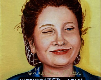 Intoxicated Irma - Original Portrait Oil Painting