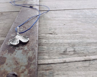 Ginkgo leaf pendant in sterling silver -Botanical pendant-Inspired by nature minimal ginkgo pendant