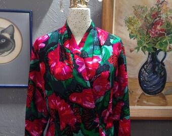 80's Evan Picone silk floral blouse.