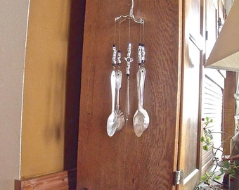 "SILVERWARE WIND CHIMES WindChimes ""Tea Time"" made with REcYcLeD,REpurposed,anTiQue  w/ silver teapot beads and letter beads of types of tea"