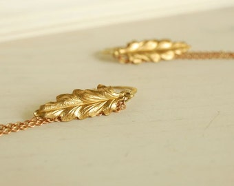 brass leaf earrings, long chain fringe earrings, urban boho earrings, golden brass jewelry, leaf chain earrings