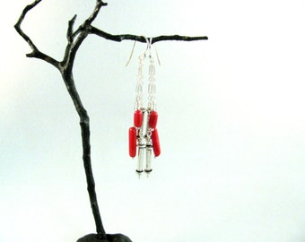 Sterling Silver and Coral Dangle Earrings RKS434