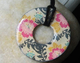 Beautiful GARDEN Collage MODERN Floral Design Upcycled Papers  Washer Hardware Pendant Necklace