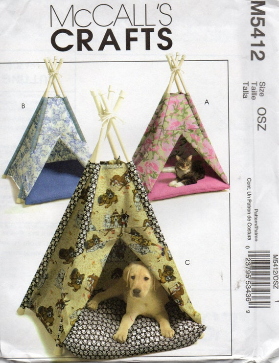 Animal Pillow Patterns To Sew : McCalls 5412 Dog Cat TENT and Pillow TeePee Small Animal