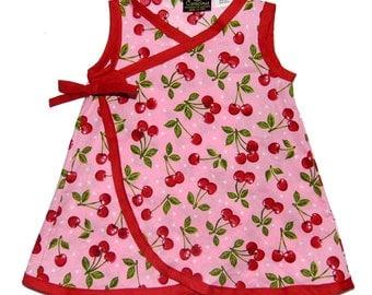 Retro Dress - Rockabilly Girls - Cherry Dress - Kimono Dress - Girl - Wrap Dress - Pink Dress - Red Dress - Sizes 4t - 5t - 6