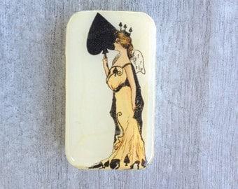 Queen of spades pill box, slider tin, mint tin, favor tin