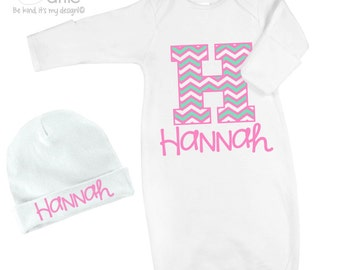 Personalized infant gown and optional matching cap set - great shower or new baby gift