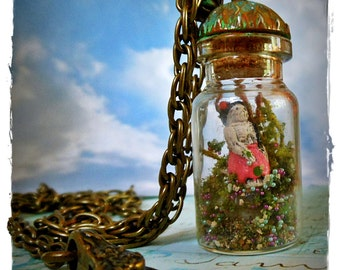 SALE 'One sunny Day' Miniature terrarium diorama in a vial with tiny handmade Peruvian skeleton Lady, moss & micro beads by WiLd PeArLy
