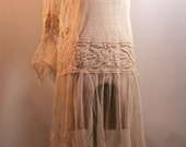 Antique Lace Dress / 1900s 1920s Cream Net Gown Drop Waist Flaired Sleeves
