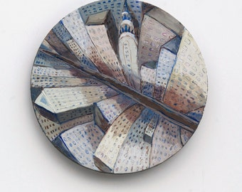 I love New York -  original round collage, painting on canvas. New York City, Manhattan,Wall Art, Ready to hang, brown, blue, monochromatic