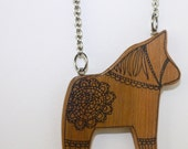 Illustrated Dala Horse Wood Necklace Pendant - Repurposed Timber Wood Eco - Handcrafted