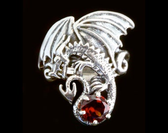 Dragon Ring Silver - Magic Dragon Ring With Gemstone - Dragon Jewelry Silver Dragon - Game of Thrones Inspired Jewelry - Dragon Art