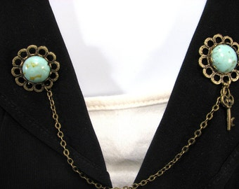 Sweater Clip Turquoise Look Cabochon Key on Filigree Flower