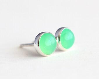 Chrysoprase Stud Earrings, Post Earrings, Sterling Silver and 5mm Stones