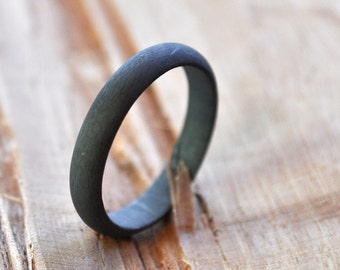 Men's 4mm wide Sterling Silver Wedding Band. Oxidised. Oxidized. Black. Grey. Gray. Custom Size. Handmade.