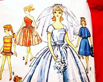 1960s Barbie Doll Clothes Pattern Barbie Sewing Pattern Wedding Gown and Trousseau, Dresses Vintage Patterns