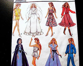 Barbie Doll Clothes Pattern UNCUT FF Barbie Dresses, Wedding Gown, Cape, Shorts, Pants, Tops Doll Sewing Pattern