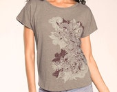 Henna Print Women's Graphic tee, Dolman sleeve, relaxed t-shirt, Mehndi Floral Motif Top, Gift for Her