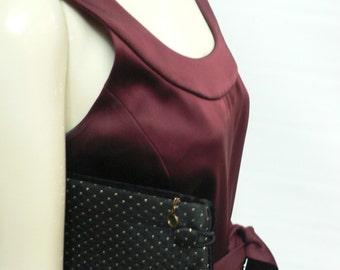 Vintage 1950s Reversible black gold polkadot Clutch Purse / black velvet evening purse