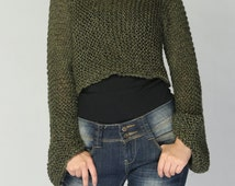 Hand knit sweater - Eco cotton sweater cover up top in Forest Green - ready to ship