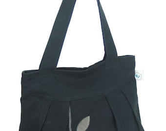 Organic and Recycled Handmade Sophisticate Shoulder Purse Black / Gray Mix Leaves - Free Shipping