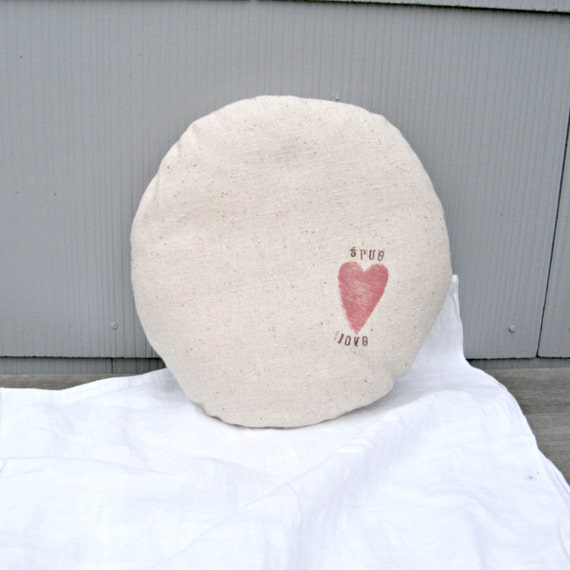 Valentine Pillow Small Round Accent Pillow by LittleBohoCottage