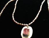 Talisman necklace #6: rose topaz, pearls, quartz
