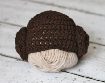 Princess Leia baby hat - infant to toddler sizes available