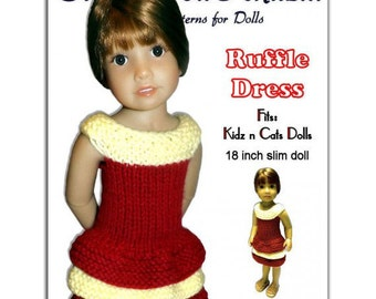 Knitting Pattern fits Kidz n Cats Dolls. Ruffle Dress, Instant Download 445