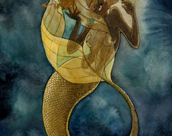Gold Mermaid - 8x10 print