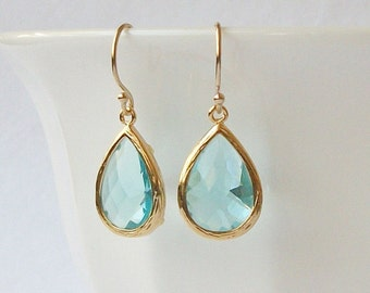 Aquamarine Blue Crystal Drop Earrings Mother's Day Jewelry Gift Something Blue Wedding
