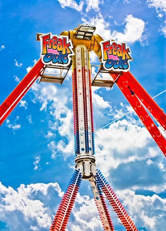 Freak Out Carnival Ride Fine Art Print- Carnival Art, County Fair, Nursery Decor, Home Decor, Children, Baby, Kids