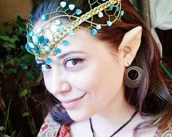 Emerald Green and Gold Elven Headdress Circlet Tiara